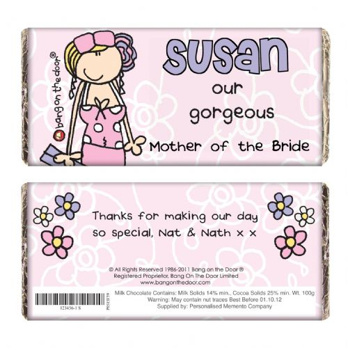 Personalised Bang on the Door Wedding Female Chocolate Bar